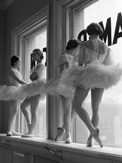 Ballerinas on Window Sill in Rehearsal Room at George Balanchine's School of American Ballet-Alfred Eisenstaedt-Photographic Print