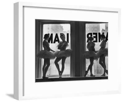 Ballerinas Standing on Window Sill in Rehearsal Room, George Balanchine's School of American Ballet-Alfred Eisenstaedt-Framed Premium Photographic Print