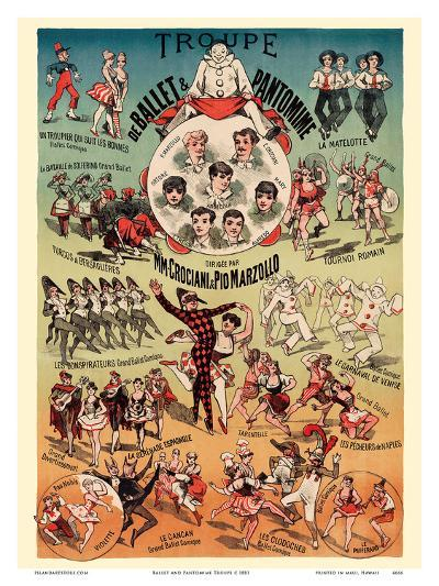 Ballet and Pantomime Troupe - Directed by M.M. Crociani and Pio Marzollo-Pacifica Island Art-Art Print