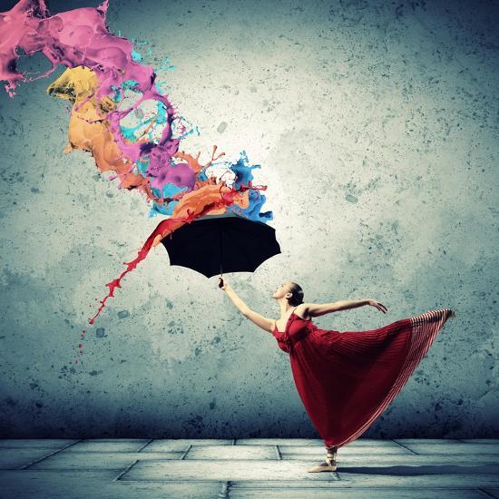 Ballet Dancer In Flying Satin Dress With Umbrella-Sergey Nivens-Art Print
