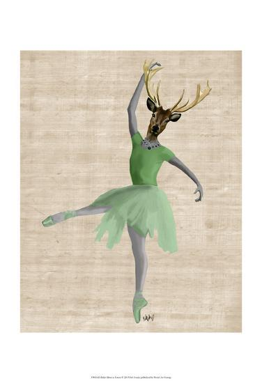 Ballet Deer in Green-Fab Funky-Art Print