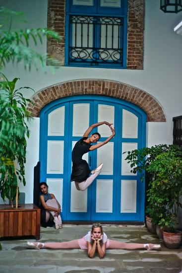 Ballet In The Colonial Streets Of Old Havana-Kike Calvo-Photographic Print