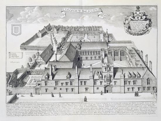Balliol College, Oxford, from Oxonia Illustrata, Published 1675-David Loggan-Giclee Print
