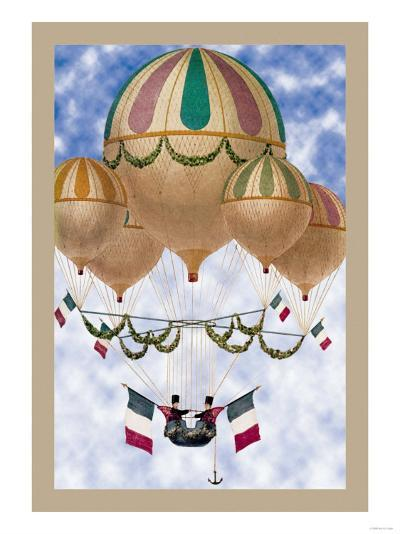 Balloon Flotill Highly Decorated Balloons Sport the Italian Flag and Its Colors--Art Print