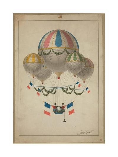 Balloons Carrying Two Men--Giclee Print