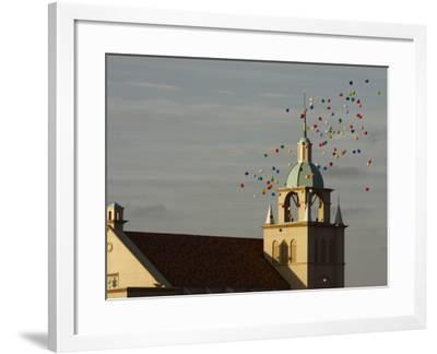 Balloons Flying over Church-Seong Joon Cho-Framed Photographic Print