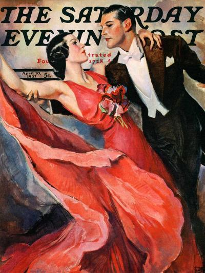"""Ballroom Dancing,"" Saturday Evening Post Cover, April 10, 1937-John LaGatta-Giclee Print"