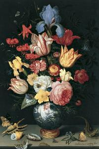 Chinese Vase with Flowers, Shells and Insects by Balthasar van der Ast