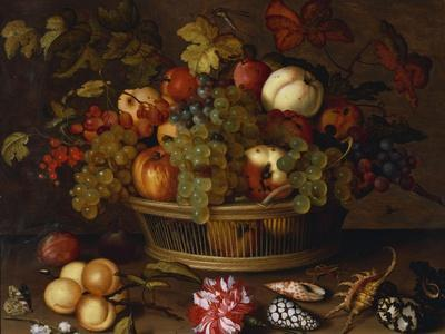 Grapes, Apples, a Peach and Plums in a Basket with Lily of the Valley