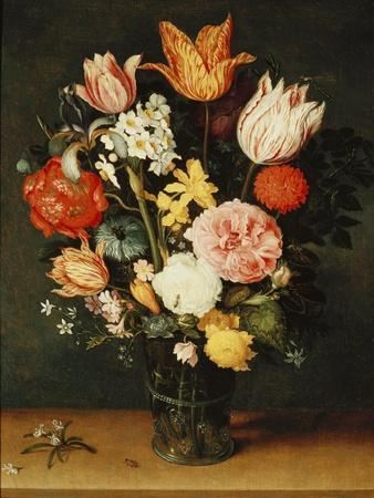 Tulips, Roses and Other Flowers in a Glass Vase