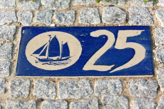 Baltic Sea Spa Wustrow, Paving Stones, Tile, House Number, Sailboat-Catharina Lux-Photographic Print