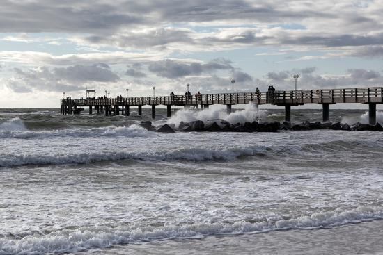 Baltic Sea Spa Wustrow, Pier in a Storm-Catharina Lux-Photographic Print
