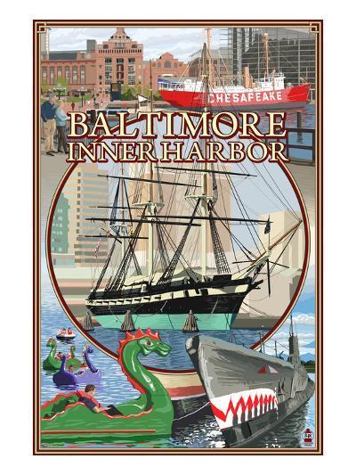 Baltimore Inner Harbor Scenes - Maryland-Lantern Press-Art Print
