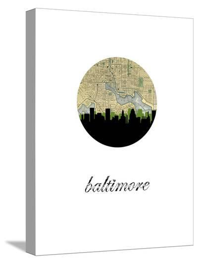 Baltimore Map Skyline-Paperfinch 0-Stretched Canvas Print
