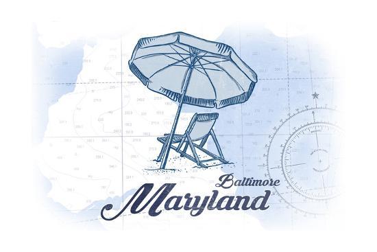 Baltimore, Maryland - Beach Chair and Umbrella - Blue - Coastal Icon-Lantern Press-Art Print
