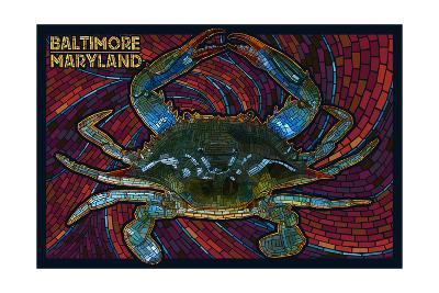 Baltimore, Maryland - Blue Crab Paper Mosaic-Lantern Press-Art Print