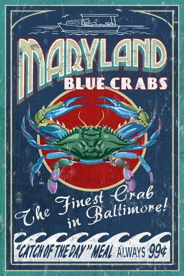 Baltimore, Maryland - Blue Crabs-Lantern Press-Art Print