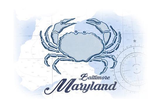 Baltimore, Maryland - Crab - Blue - Coastal Icon-Lantern Press-Art Print