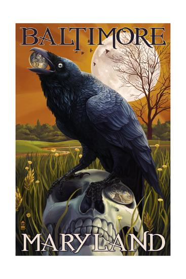 Baltimore, Maryland - Raven and Skull-Lantern Press-Art Print