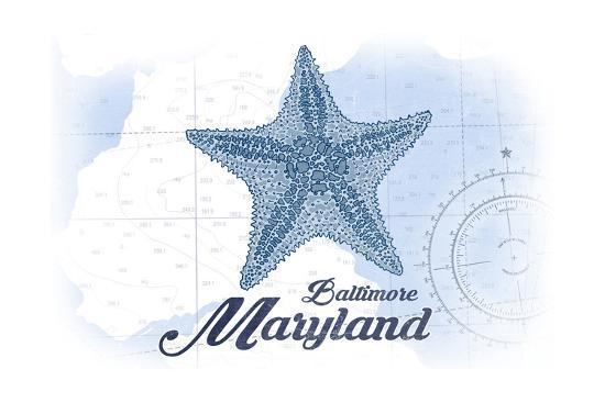 Baltimore, Maryland - Starfish - Blue - Coastal Icon-Lantern Press-Art Print