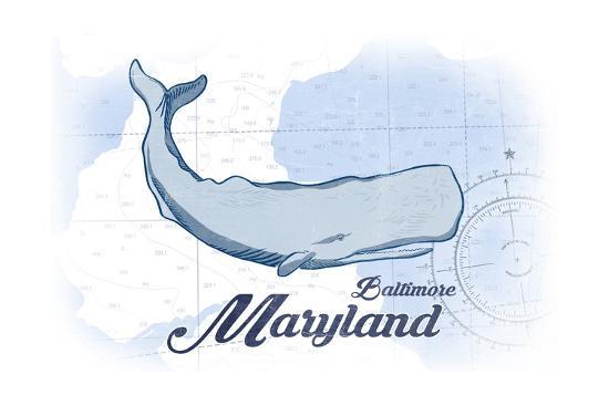 Baltimore, Maryland - Whale - Blue - Coastal Icon-Lantern Press-Art Print