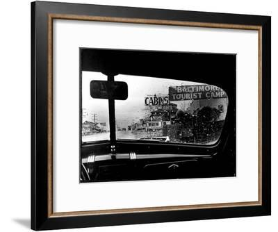 Baltimore Washington stretch of U.S. Highway is a clutter of signs through rain covered windshields-Margaret Bourke-White-Framed Premium Photographic Print