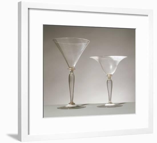 Baluster-Stemmed Glass Goblets, Italy, 16th Century--Framed Giclee Print