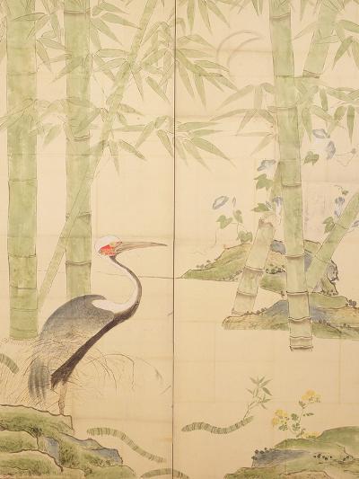 Bamboo and Crane, Edo Period (W/C on Panel)-Japanese-Giclee Print