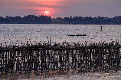 Bamboo Bridge of Koh Paeng Island on the Island River, Kompong Cham (Kampong Cham), Cambodia-Nathalie Cuvelier-Photographic Print
