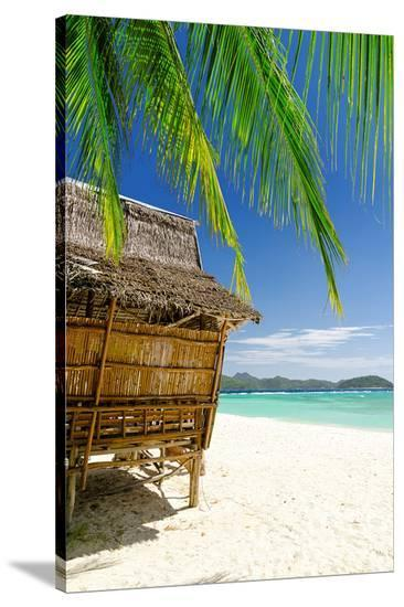 Bamboo Hut On A Tropical Beach--Stretched Canvas Print