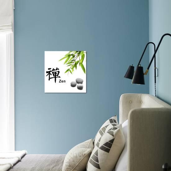 Bamboo Leafs And Zen Stones Isolated On White The Chinese Word Means Zen Photographic Print Liang Zhang Art Com