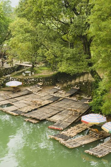 Bamboo Rafts Dock by Stone Stairs on the Li River Near Yangshuo, China-Jonathan Kingston-Photographic Print