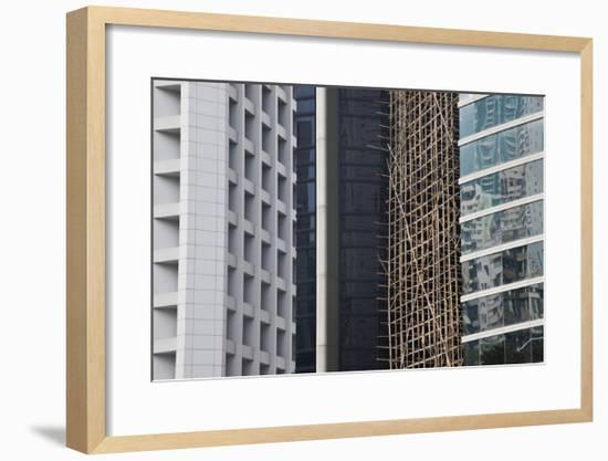 Bamboo Scaffolding, Hong Kong, China-Julie Eggers-Framed Art Print