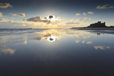 Bamburgh and Farne Island Winter Reflections, Bamburgh, Northumberland, England-Eleanor Scriven-Photographic Print