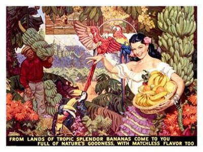 Bananas, From Lands of Tropical Splendor-Dean Cornwell-Giclee Print