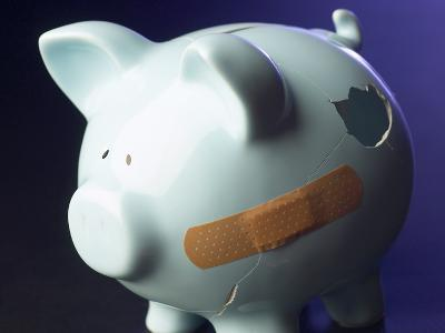 Bandaid on Broken and Cracked Piggy Bank--Photographic Print