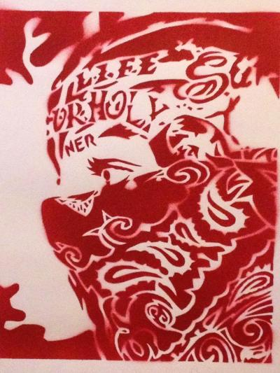 Bandana Man Red-Abstract Graffiti-Giclee Print
