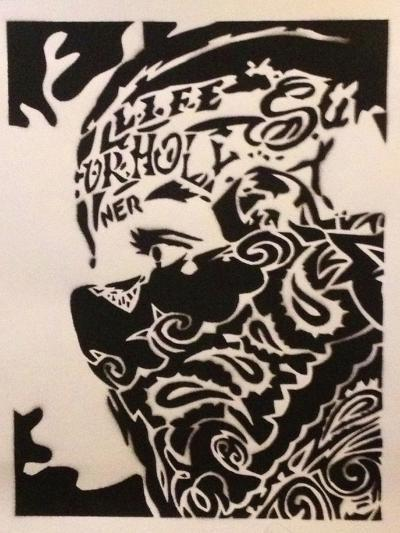 Bandana Man-Abstract Graffiti-Giclee Print