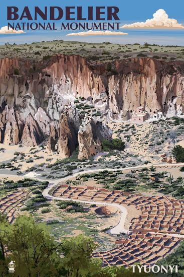 Bandelier National Monument, New Mexico - Tyuonyi Aerial View-Lantern Press-Art Print