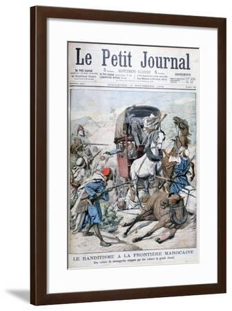Bandits Attacking a Mail Coach on the Moroccan Frontier, 1904--Framed Giclee Print