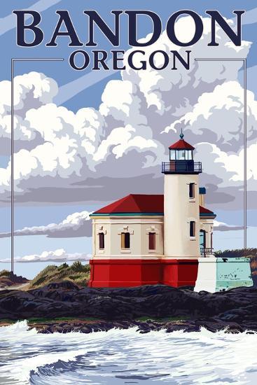 Bandon, Oregon - Coquille River Lighthouse (Version 2)-Lantern Press-Art Print