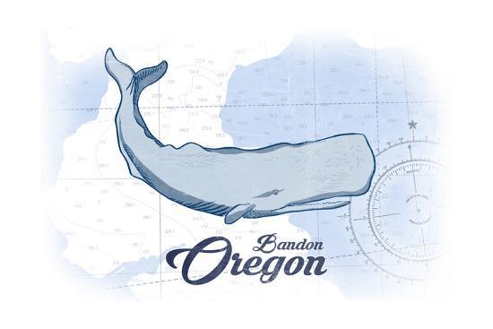 Bandon, Oregon - Whale - Blue - Coastal Icon-Lantern Press-Art Print