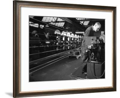 Bandsaws Being Sharpened at Slack Sellars and Co, Sheffield, South Yorkshire, 1963-Michael Walters-Framed Photographic Print