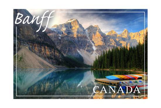 Banff, Canada - Moraine Lake Canoes-Lantern Press-Art Print