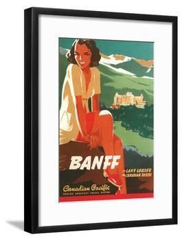 Banff Travel Poster-null-Framed Premium Giclee Print