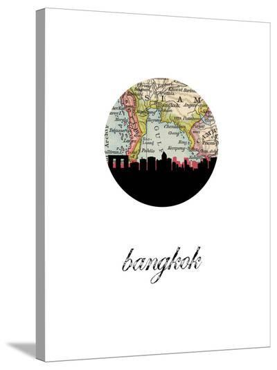 Bangkok Map Skyline-Paperfinch 0-Stretched Canvas Print