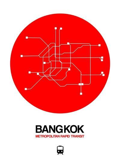 Bangkok Red Subway Map-NaxArt-Art Print