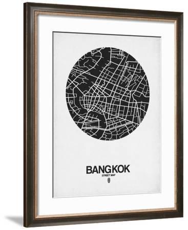 Bangkok Street Map Black on White-NaxArt-Framed Art Print