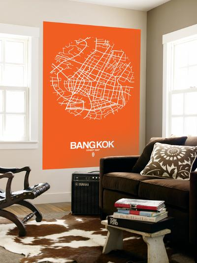Bangkok Street Map Orange-NaxArt-Wall Mural