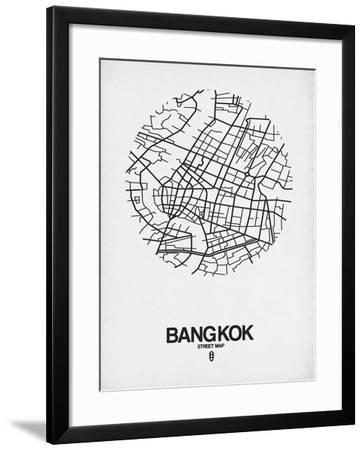 Bangkok Street Map White-NaxArt-Framed Art Print